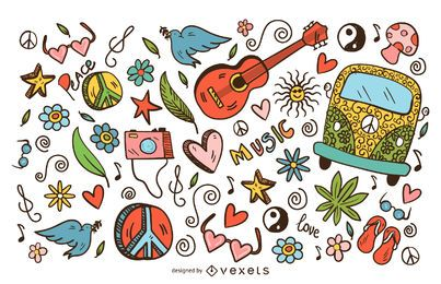 Hippie doodle icons set