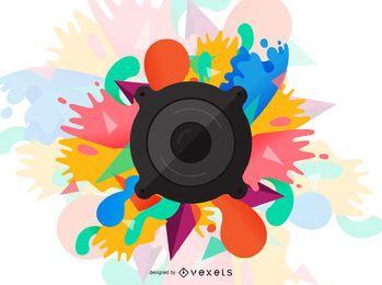 Audio speaker paint splashes illustration