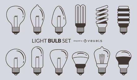 Light bulb stroke icon set