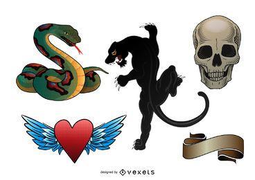 Conjunto de ilustración de tatuaje de la vieja escuela