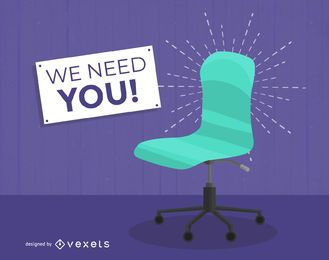 Vacante silla de trabajo contratación de ilustración