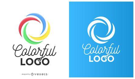 Logotipo de curvas de círculo colorido