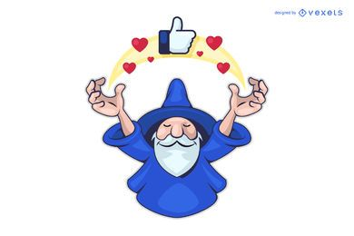 Social media wizard logo