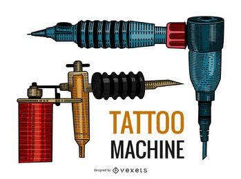 Ilustración de pistolas de tatuaje