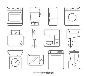 Kitchen stoke icon set