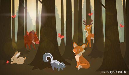 Forest animals landscape
