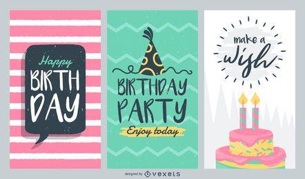 Conjunto de tarjetas de cumpleaños
