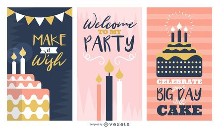 Birthday greeting cards set