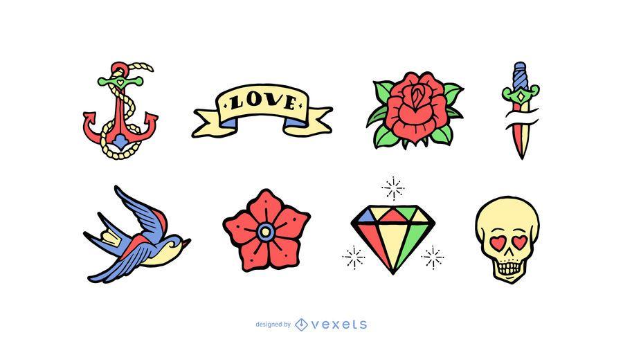 Conjunto de dibujos animados de tatuaje vintage