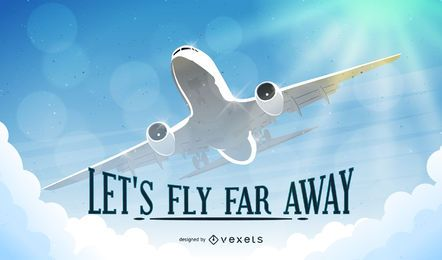 Fly far away airplane background