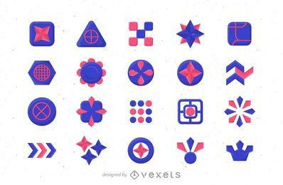 Abstract blue and pink logo template set