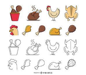 Conjunto de iconos de comida de pollo