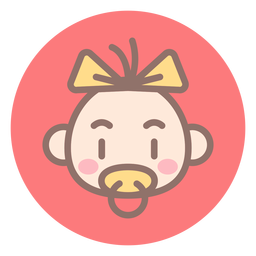 Baby girl head circle icon