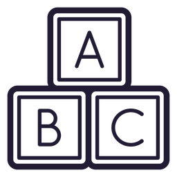 Baby letter cubes stroke icon