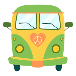 Painted hippie bus element