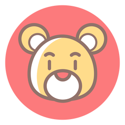 Teddy bear head circle icon