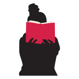 Woman reading book silhouette people reading