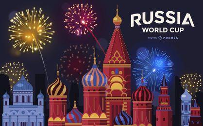 Fondo de fuegos artificiales de la Copa Mundial de Moscú