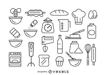 Baking stroke icon set