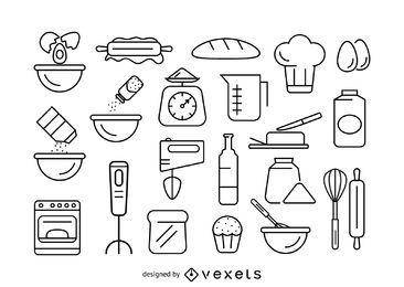 Conjunto de iconos de trama de horneado
