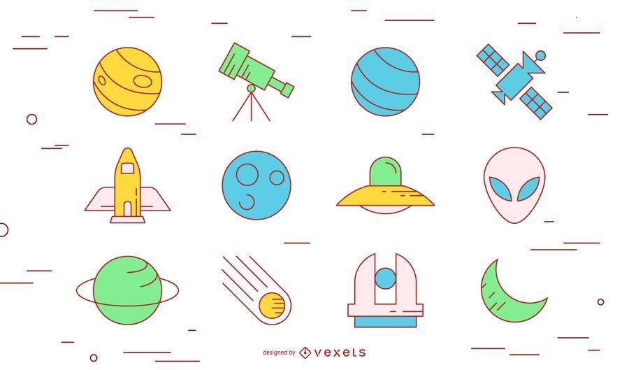 Space stroke icon set