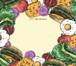 Fondo de marco de ingredientes de hamburguesa