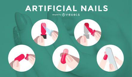 Artificial Nails Process Ilustraciones de vectores
