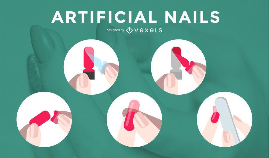 Artificial Nails Process Vector Illustrations