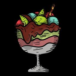 Hand drawn fruit sundae