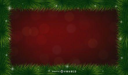 Fondo de marco de espinas de pino de Navidad