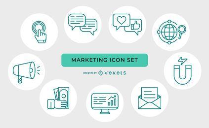 Conjunto de iconos de marketing de línea delgada