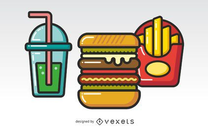 Hamburguesa, combo, plano, iconos