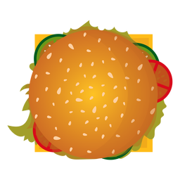 Icono de vista superior de hamburguesa con queso