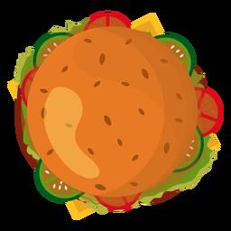Icono de la vista superior de la hamburguesa