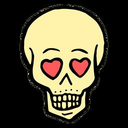 Heart eyes skull vintage tattoo