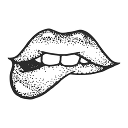 Lips bite vintage tattoo