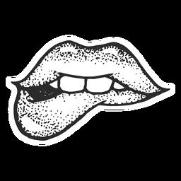 Los labios mordieron el tatuaje de la vendimia