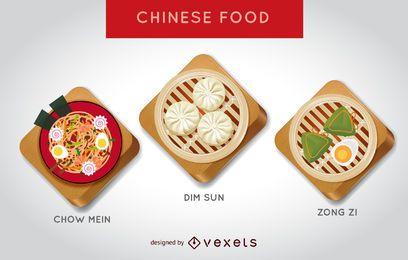 Conjunto de ilustración de comida china
