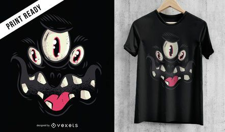 Black Monster Face Halloween T-shirt Design