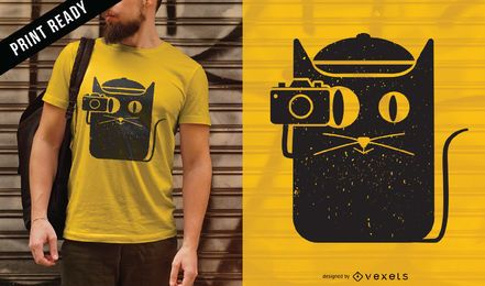 Cat and camera t-shirt design