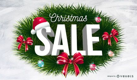 Christmas sale wreath background