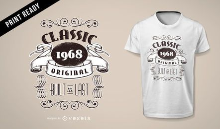 VINTAGE ORIGINAL RETRO 1968 MEN WOMEN BIRTHDAY T-SHIRT DESIGN