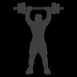 Man barbell overhead press silhouette