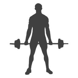 Man holding barbell silhouette