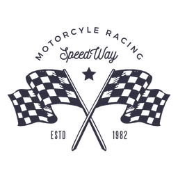 Motorcycle racing flag logo