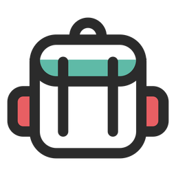 Travel backpack colored stroke icon