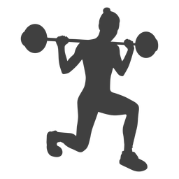 Woman barbell lunges silhouette