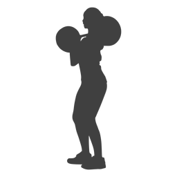 Woman clean and jerk silhouette