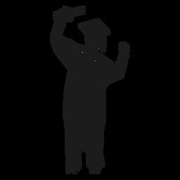 Female graduate cheering silhouette