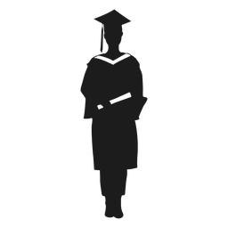 Female graduate holding diploma silhouette